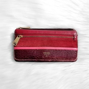 FOSSIL Red Leather Bifold Wallet